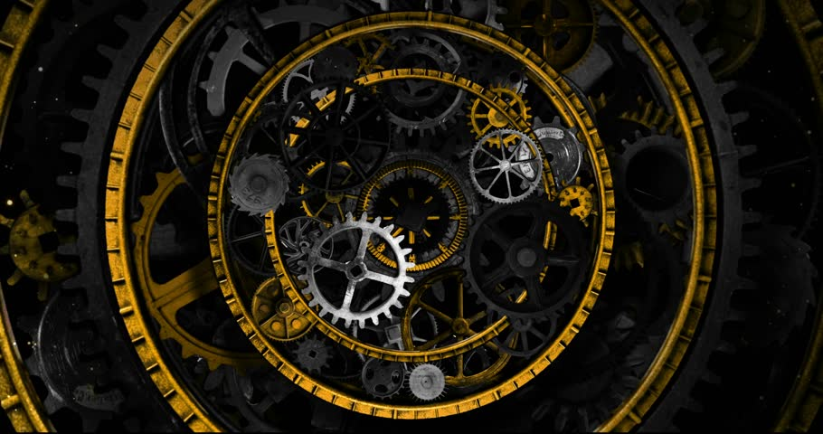 Loop Visual Background of Golden and Metallic Clockworks and Gears in a form of circular