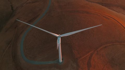 Wind turbine. Renewable energy, sustainable development, environment friendly concept. View from the top. Aerial. Drone 4k