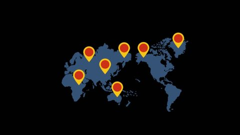 Delivery icons animation with black background.World map icon animation with black background.