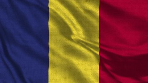 Romania Flag Loop - Realistic 4K - 60 fps flag of the Romania waving in the wind. Seamless loop with highly detailed fabric texture. Loop ready in 4k resolution