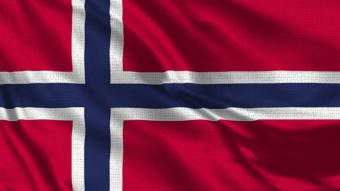 Norway Flag Loop - Realistic 4K - 60 fps flag of the Norway waving in the wind. Seamless loop with highly detailed fabric texture. Loop ready in 4k resolution