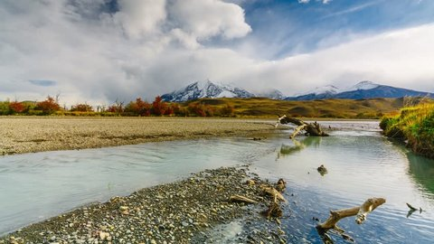 View of the mountains and the river in Torres del Paine National Park. Autumn in Patagonia, the Chilean side.
