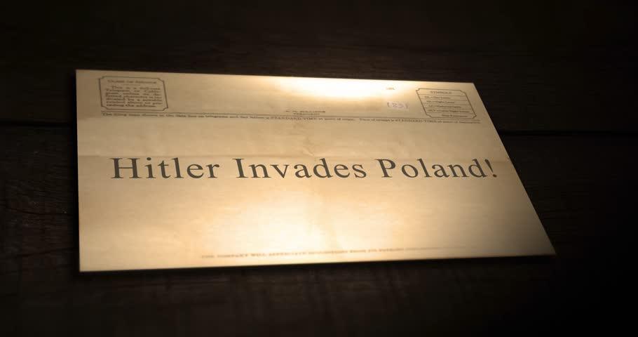 Sepia old telegram text series -  Hitler invades Poland!