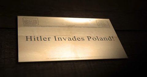 Sepia old telegram text series -  Hitler invades Poland!