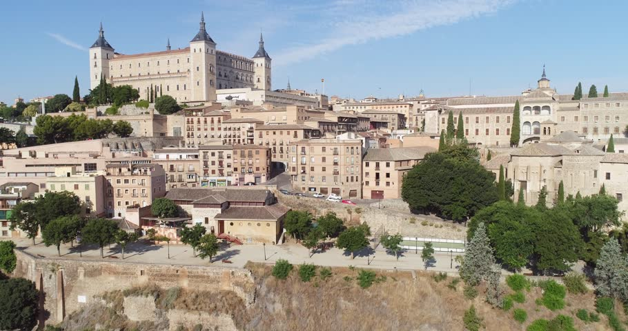 Toledo Spain July 15th 2018 Aerial view of Toledo Spain. This old city was once the capital in Spain and now a main tourist destination because the many well preserved historic buildings and monuments