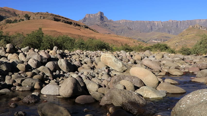 View of the Amphitheater and Tugela river, Drakensberg mountains, Royal Natal National Park, South Africa