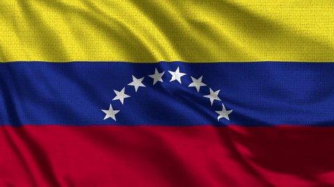 Venezuela Flag Loop - Realistic 4K - 60 fps flag of the Venezuela waving in the wind. Seamless loop with highly detailed fabric texture. Loop ready in 4k resoluti