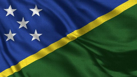 Solomon Islands Flag Loop - Realistic 4K - 60 fps flag of the Solomon Islandswaving in the wind. Seamless loop with highly detailed fabric texture. Loop ready in 4k resolution
