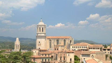 Time lapse of panoramic view of Girona and cathedral, Catalonia, Spain.