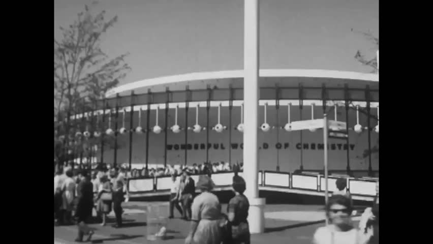 "CIRCA 1960s - Exterior shots of many pavilions are seen at the 1964 New York World's Fair, including what will become the ""It's A Small World"" ride."