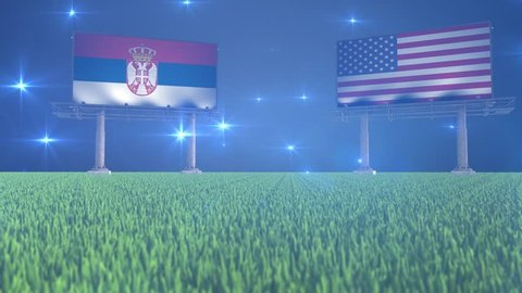 3d animated soccer ball bouncing in front of billboards with the flags of Serbia and USA with flickering lights in the background in 4K resolution