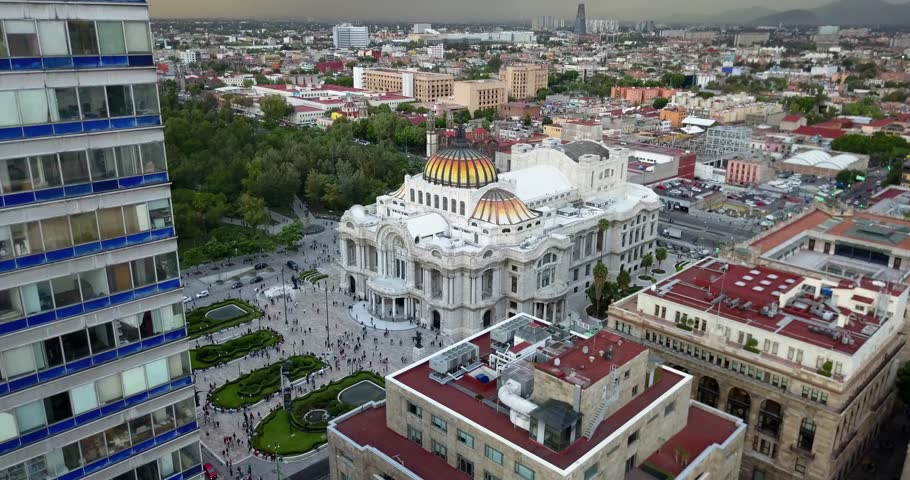 Beautiful Cinematic Aerial View Of The Palace Of Fine Arts In Mexico City