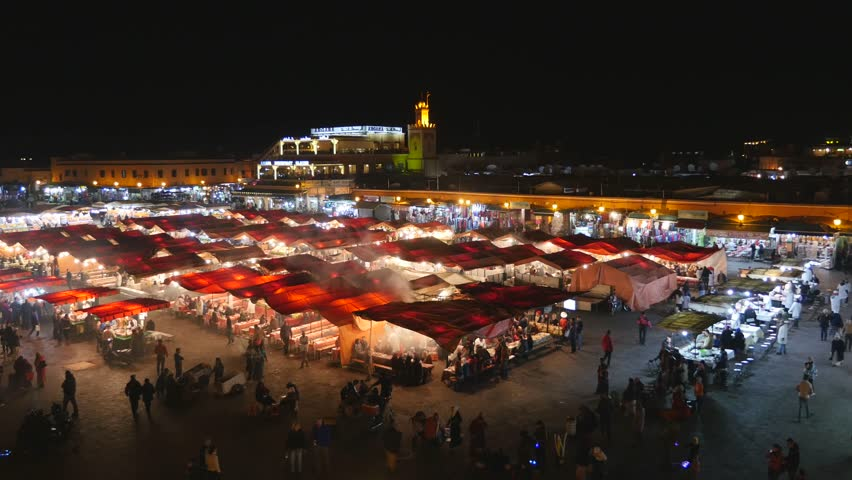 Night life on the famous Jemaa el-Fnaa square and market place in Marrakesh's medina quarter. Morroco
