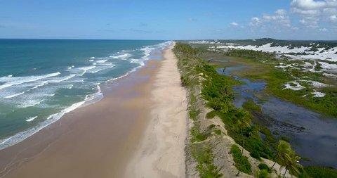 Aerial view of Massarandupió Beach, Entre Rios, Bahia, Brazil