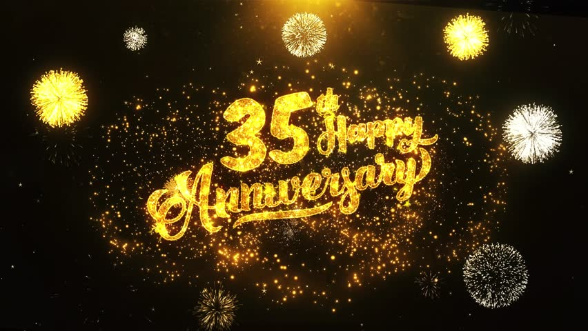 Happy birthday greeting footage page 22 stock clips 35th happy anniversary text greeting and wishes card made from glitter particles from golden firework display m4hsunfo