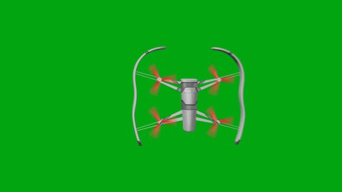 Drone with Rotating Rotors on a Green Background Flies to the Left Side. Top view. 3d animation, 4K