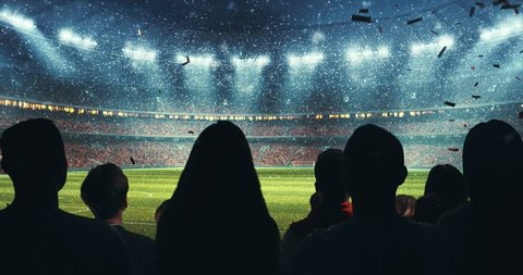 Fans celebrating the success of their favorite sports team, a couple is hugging on the stands of the professional stadium while it's snowing. Stadium is made in 3D and animated.