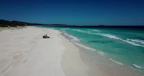 People fishing in Bornup Beach,  Margaret River, Western Australia.