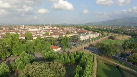 Aerial view of Lucca Town in Tuscany with ancient medieval architecture.