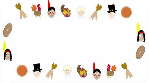 Seamless animated looping Thanksgiving icons illustrated in cartoon fashion framing white background with copy space.