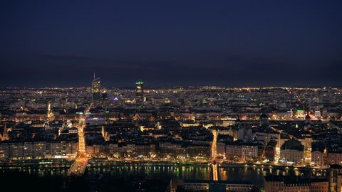 lyon cityscape at night seen from above wide shot