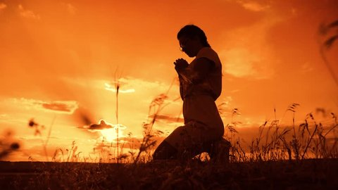 the girl prays. Girl folded her hands in prayer silhouette at sunset. slow motion video. Girl folded her hands in prayer pray to God. girl praying asks forgiveness for sins of lifestyle repentance