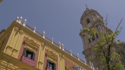 View of Malaga Cathedral and Palacio Episcopal, Malaga, Andalucia, Spain, Europe