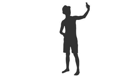 Black and white silhouette of young man tourist in shorts and hat takes selfie, Front view, Full HD footage with alpha transparency channel isolated on white background