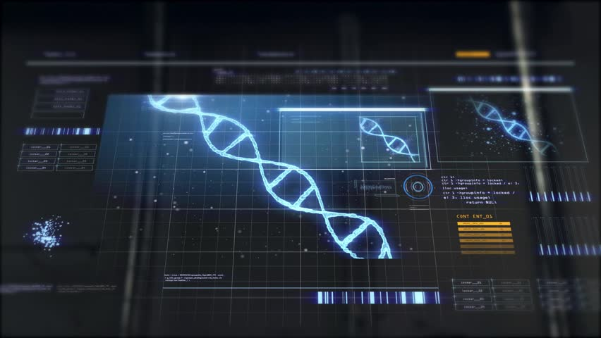 Future technology and programming concept - hand switching virtual touch screen with dna molecule over black background | Shutterstock HD Video #1014511850