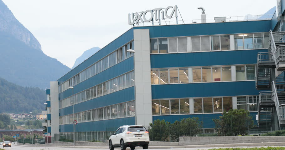 Agordo (BL), Italy, August 1st 2018, Luxottica main and oldest Italian facility in northern Italy