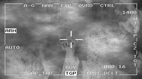 Smart bomb missile drop military drone spy war pov aerial shot falling 4k