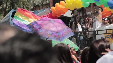 Medellin, Colombia - July 11, 2018: Supportive truck during Gay pride