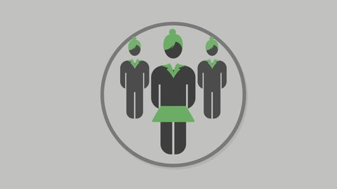 Corporate people icons animation with grey background.Businesswomen icon animation with grey background.