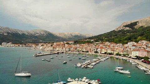 Panoramic aerial view of Baska town, popular touristic destination on island Krk Croatia Europe.