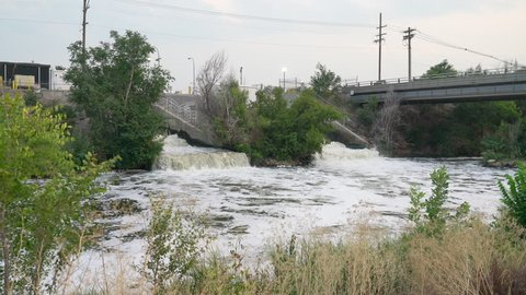 outflow from Denver metro wastewater treatment facility into the South Platte River in Colorado