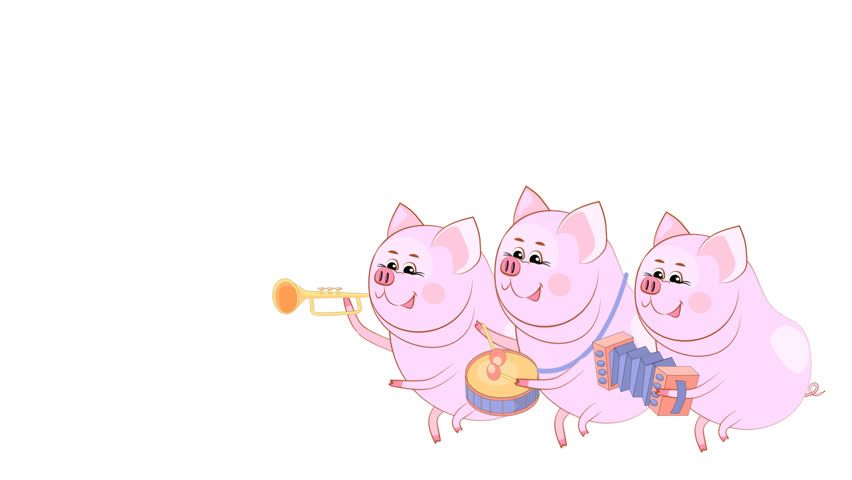 Small guinea pigs. Musician. Translucent background. New Year screensaver for banners, postcards, sites. Alpha channel.