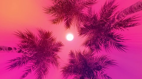 Palms on the beach. Pinky sky, Vacation, Sea beach.