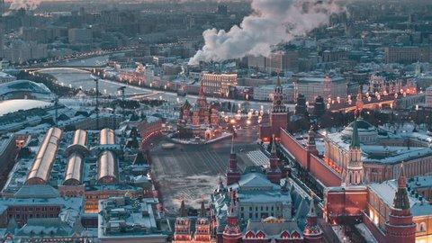 Aerial view of popular landmark Kremlin, Moscow during winter
