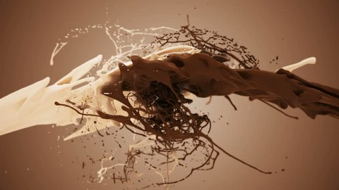 Milk and chocolate splash in slow motion. 3D animation of white and brown liquid cream drops splash isolated on brown. Alpha matte included for compositing. 4K bright white and dark design element