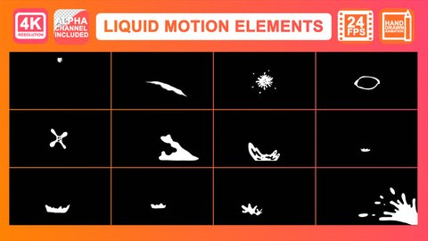 Liquid Motion Elements Motion Graphics Pack contains cartoon dynamic liquid elements and transitions. Use with your video and graphics. Combine elements and make excellent text and logo animation.