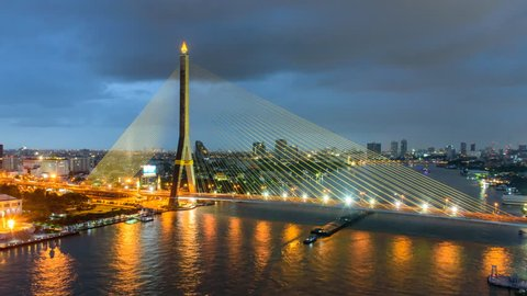 Time lapse of Big Suspension bridge with lighting in sunset time / Rama 8 bridge Big suspension landmark in Thailand