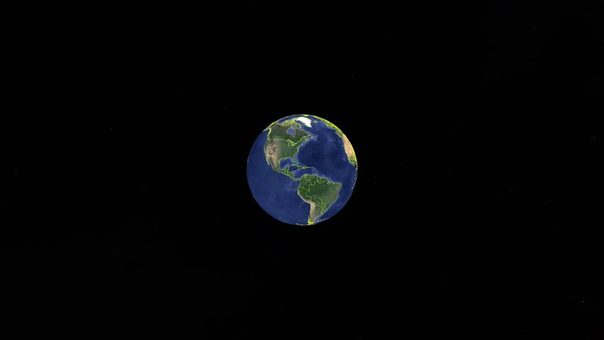 United Arab Emirates with flag. 3d earth in space - zoom in United Arab Emirates outer, created using ultra high res NASA