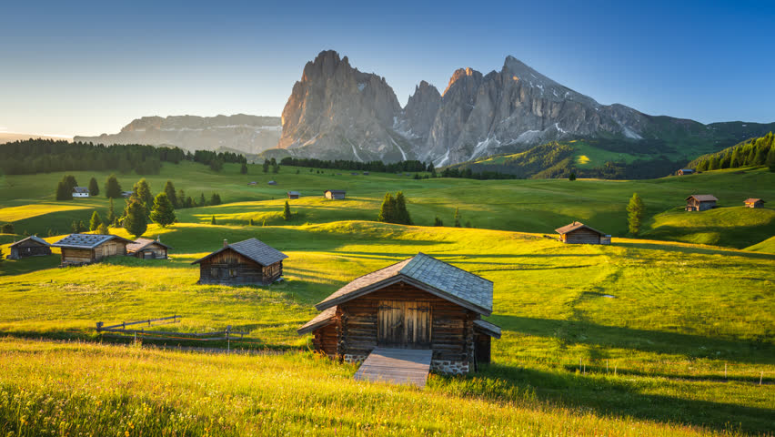 4K Time lapse of sunrise view from Seiser Alm (Alpe di Siusi), Dolomites, Italy  | Shutterstock HD Video #1014726410