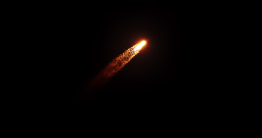 Rocket flying into space at night with bright exhaust trail flames and smoke.