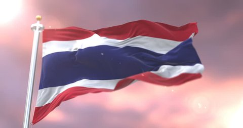 Flag of Thailand waving at wind at sunset in slow, loop