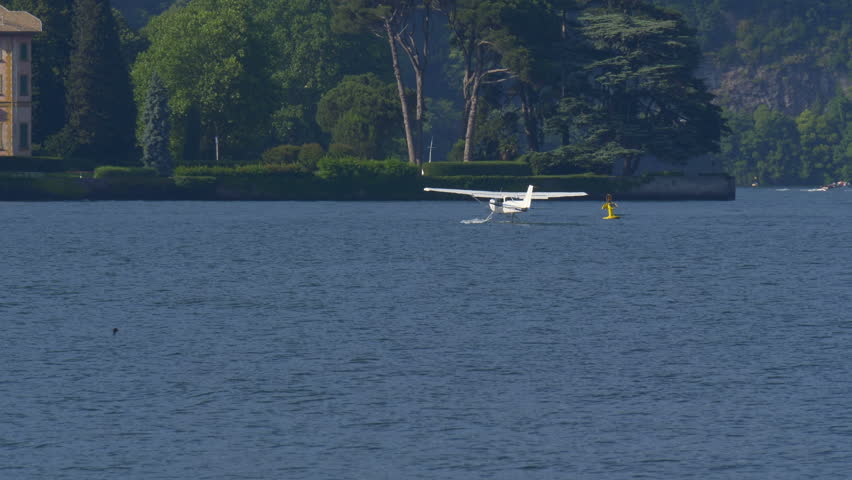 Floatplane preparing to take off on Lake Como in Italy