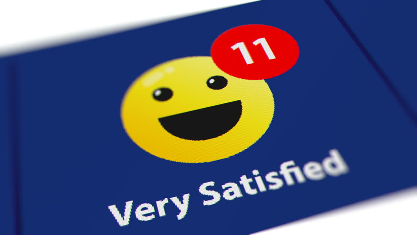 Increasing the Number of Customer Satisfaction Survey (Very Satisfied). Monitor Screen Close Up.