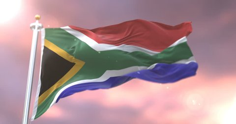 South Africa flag waving at wind in slow at sunset, loop