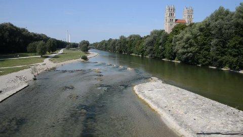 St maximilian church and isar river summertime, Munich, Bavaria, Germany.