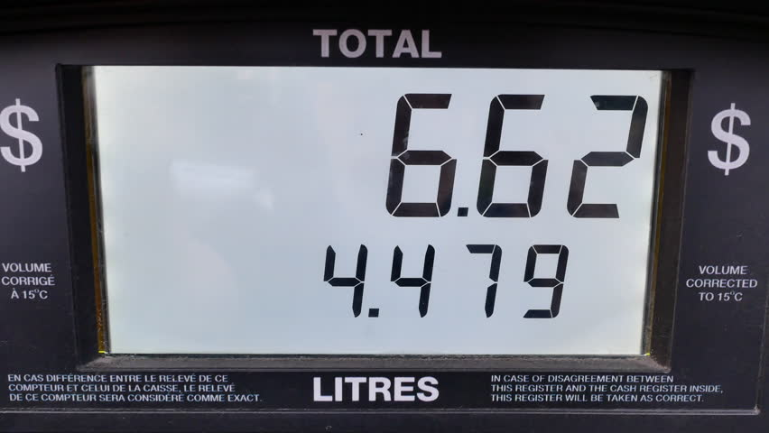 Big screen of rising gas prices on pump scree with 4k resolution